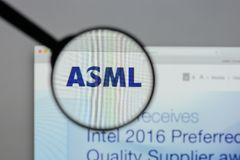 Milan, Italy - August 10, 2017: ASML Holding NV logo on the webs. Ite homepage Stock Image