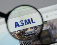 Milan, Italy - August 10, 2017: ASML Holding NV logo on the webs. Ite homepage Royalty Free Stock Images