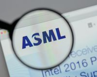 Milan, Italy - August 10, 2017: ASML Holding NV logo on the webs. Ite homepage Royalty Free Stock Photography