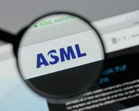 Milan, Italy - August 10, 2017: ASML Holding NV logo on the webs. Ite homepage Stock Photo