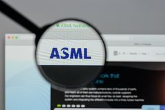 Milan, Italy - August 10, 2017: ASML Holding NV logo on the webs. Ite homepage Stock Photos
