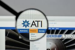 Milan, Italy - August 10, 2017: ATI website homepage. It is a sp. Ecialty metals company. Allegheny Technologies Royalty Free Stock Photos