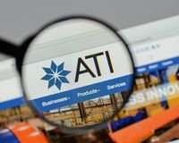 Milan, Italy - August 10, 2017: ATI website homepage. It is a sp. Ecialty metals company. Allegheny Technologies Stock Images