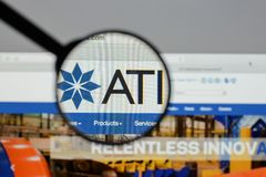 Milan, Italy - August 10, 2017: ATI website homepage. It is a sp. Ecialty metals company. Allegheny Technologies Royalty Free Stock Photography
