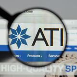 Milan, Italy - August 10, 2017: ATI website homepage. It is a sp. Ecialty metals company. Allegheny Technologies Stock Image