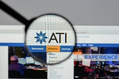 Milan, Italy - August 10, 2017: ATI website homepage. It is a sp. Ecialty metals company. Allegheny Technologies Stock Photography