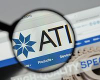 Milan, Italy - August 10, 2017: ATI website homepage. It is a sp. Ecialty metals company. Allegheny Technologies Stock Photos