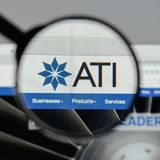 Milan, Italy - August 10, 2017: ATI website homepage. It is a sp. Ecialty metals company. Allegheny Technologies Royalty Free Stock Photo