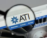 Milan, Italy - August 10, 2017: ATI website homepage. It is a sp. Ecialty metals company. Allegheny Technologies Stock Photo