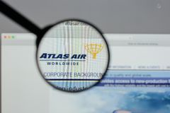 Milan, Italy - August 10, 2017: Atlas Air Worldwide Holdings log. O on the website homepage Royalty Free Stock Photos