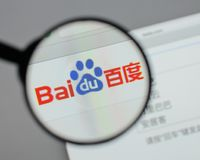 Milan, Italy - August 10, 2017: Baidu logo on the website homep. Age stock images