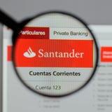 Milan, Italy - August 10, 2017: Banco Santander logo on the webs Royalty Free Stock Photos
