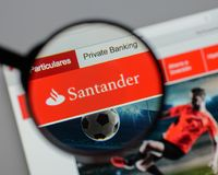 Milan, Italy - August 10, 2017: Banco Santander logo on the webs Royalty Free Stock Image