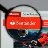 Milan, Italy - August 10, 2017: Banco Santander logo on the webs Stock Photos