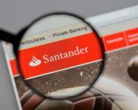 Milan, Italy - August 10, 2017: Banco Santander logo on the webs Stock Photo