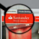 Milan, Italy - August 10, 2017: Banco Santander logo on the webs Stock Image