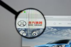 Milan, Italy - August 10, 2017: Beijing Automotive Group logo on. The website homepage Stock Photos