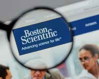 Milan, Italy - August 10, 2017: Boston Scientific logo on the we royalty free stock image