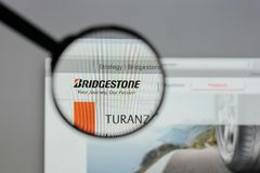 Milan, Italy - August 10, 2017: Bridgestone logo on the website. Milan, Italy - August 10, 2017: Bridgestone Royalty Free Stock Photo