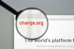 Milan, Italy - August 10, 2017: Change.org website homepage. It Stock Image