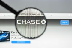 Milan, Italy - August 10, 2017: Chase bank website. It is a nati. Onal bank that constitutes the consumer and commercial banking subsidiary of the U.S.  holding Stock Image