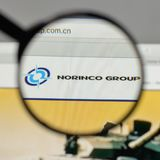 Milan, Italy - August 10, 2017: China North Industries Group log. O on the website homepage Stock Images