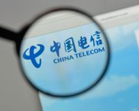 Milan, Italy - August 10, 2017: China Telecom logo on the websit. E homepage Royalty Free Stock Photography