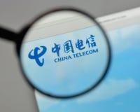 Milan, Italy - August 10, 2017: China Telecom logo on the websit. E homepage Stock Photo