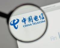 Milan, Italy - August 10, 2017: China Telecom logo on the websit. E homepage Royalty Free Stock Photos