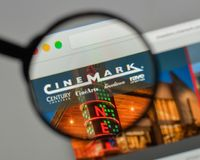 Milan, Italy - August 10, 2017: Cinemark Holdings logo on the we. Bsite homepage Stock Image