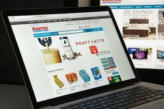 Milan, Italy - August 10, 2017: Costco.com website homepage. It stock images