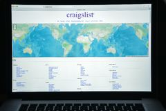 Milan, Italy - August 10, 2017: Craigslist.org website homepage. Royalty Free Stock Images