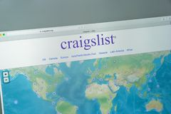 Milan, Italy - August 10, 2017: Craigslist.org website homepage. Royalty Free Stock Photos