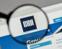Milan, Italy - August 10, 2017: CRH logo on the website homepag. E stock photos