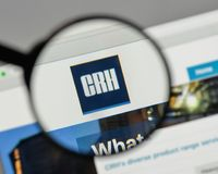 Milan, Italy - August 10, 2017: CRH logo on the website homepag. E stock photography