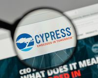 Milan, Italy - August 10, 2017: Cypress Semiconductor logo on th. E website homepage Royalty Free Stock Images