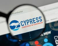 Milan, Italy - August 10, 2017: Cypress Semiconductor logo on th. E website homepage Stock Images