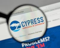 Milan, Italy - August 10, 2017: Cypress Semiconductor logo on th. E website homepage Stock Photography