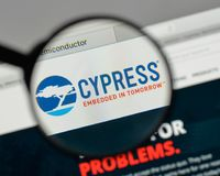Milan, Italy - August 10, 2017: Cypress Semiconductor logo on th. E website homepage Royalty Free Stock Photo
