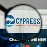Milan, Italy - August 10, 2017: Cypress Semiconductor logo on th. E website homepage Royalty Free Stock Photos