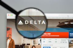 Milan, Italy - August 10, 2017: Delta website homepage. It is a. Major American airline, with its headquarters and largest hub at Hartsfield– royalty free stock photos