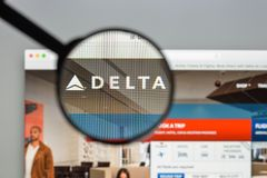 Milan, Italy - August 10, 2017: Delta website homepage. It is a. Major American airline, with its headquarters and largest hub at Hartsfield–Jackson stock image