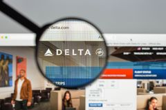 Milan, Italy - August 10, 2017: Delta website homepage. It is a. Major American airline, with its headquarters and largest hub at Hartsfield–Jackson royalty free stock photography