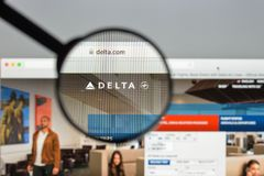 Milan, Italy - August 10, 2017: Delta website homepage. It is a. Major American airline, with its headquarters and largest hub at Hartsfield–Jackson stock photography