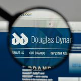 Milan, Italy - August 10, 2017: Douglas Dynamics logo on the web. Site homepage Royalty Free Stock Photos