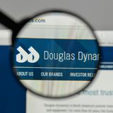Milan, Italy - August 10, 2017: Douglas Dynamics logo on the web. Site homepage Royalty Free Stock Photography