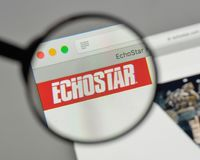 Milan, Italy - August 10, 2017: EchoStar logo on the website ho. Milan, Italy - August 10, 2017: EchoStar Royalty Free Stock Image