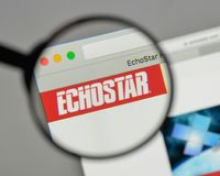 Milan, Italy - August 10, 2017: EchoStar logo on the website ho. Milan, Italy - August 10, 2017: EchoStar Stock Photo