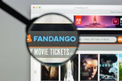 Milan, Italy - August 10, 2017: Fandango website homepage. It is. An American corporation that sells movie tickets via the telephone and the Internet. Fandango Stock Image