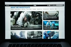 Milan, Italy - August 10, 2017: Fbi website homepage. It is the Stock Photography